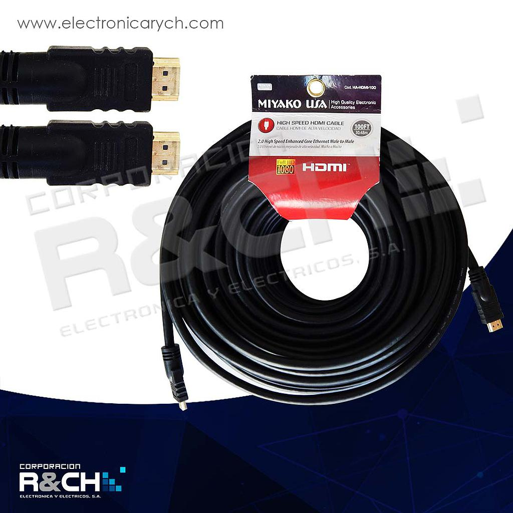 HA-HDMI-100 cable HDMI 100ft 30.48m aprox alta calidad full HD 1080